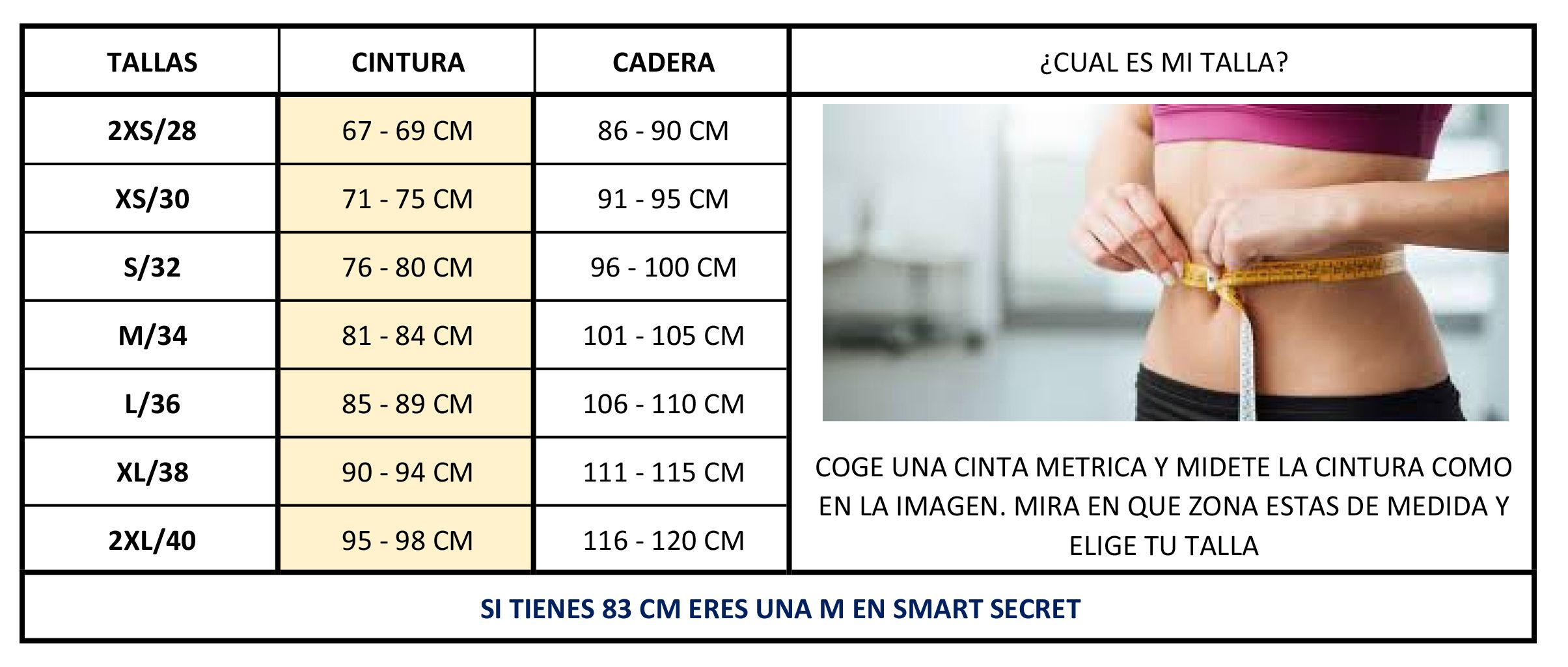 Tabla de tallas Smart Secret