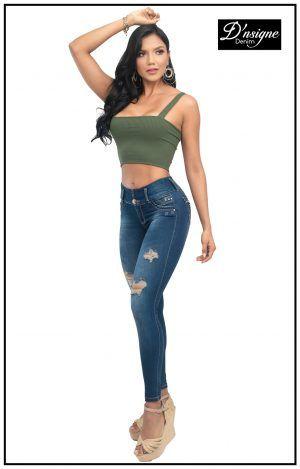 pantalon colombiano azul con rotos